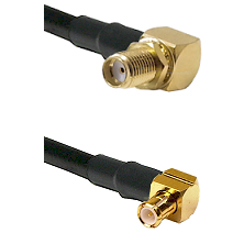 SMA Right Angle Female Bulkhead on RG58C/U to MCX Right Angle Male Cable Assembly