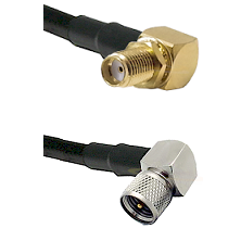 SMA Right Angle Female Bulkhead on RG58C/U to Mini-UHF Right Angle Male Cable Assembly