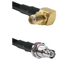 SMA Right Angle Female Bulkhead on RG58C/U to BNC Reverse Polarity Female Bulkhead Coaxial Cable Ass