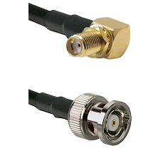 SMA Right Angle Female Bulkhead on RG58C/U to BNC Reverse Polarity Male Cable Assembly