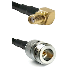SMA Right Angle Female Bulkhead on RG58C/U to N Reverse Polarity Female Cable Assembly