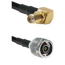 SMA Right Angle Female Bulkhead on RG58C/U to N Reverse Polarity Male Cable Assembly