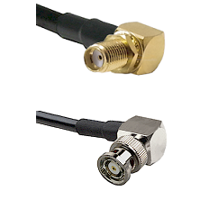 SMA Right Angle Female Bulkhead on RG58C/U to BNC Reverse Polarity Right Angle Male Coaxial Cable As