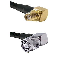 SMA Right Angle Female Bulkhead on RG58C/U to TNC Reverse Polarity Right Angle Male Coaxial Cable As