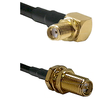 SMA Right Angle Female Bulkhead on RG58C/U to SMA Reverse Polarity Female Bulkhead Coaxial Cable Ass