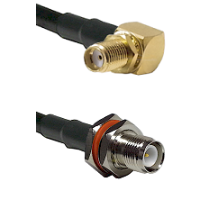 SMA Right Angle Female Bulkhead on RG58 to TNC Reverse Polarity Female Bulkhead Coaxial Cable Assemb