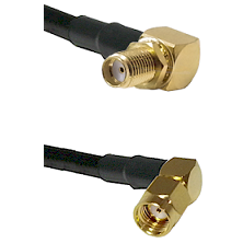 SMA Right Angle Female Bulkhead on RG58C/U to SMA Reverse Polarity Right Angle Male Coaxial Cable As
