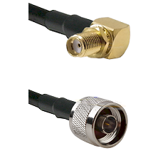 SMA Right Angle Female Bulkhead on RG58C/U to N Reverse Thread Male Cable Assembly