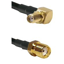 SMA Right Angle Female Bulkhead on RG58 to SMA Reverse Thread Female Cable Assembly