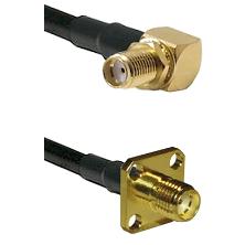 SMA Right Angle Female Bulkhead on RG58 to SMA 4 Hole Female Cable Assembly