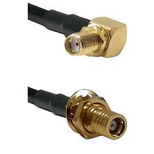 SMA Right Angle Female Bulkhead on RG58C/U to SMB Female Bulkhead Cable Assembly
