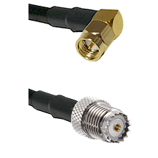 SMA Right Angle Male on Belden 83242 RG142 to Mini-UHF Female Cable Assembly