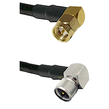 SMA Right Angle Male on Belden 83242 RG142 to Mini-UHF Right Angle Male Cable Assembly
