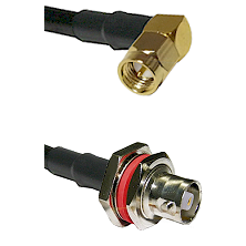 SMA Right Angle Male on LMR-195-UF UltraFlex to C Female Bulkhead Cable Assembly