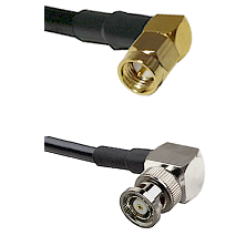 SMA Right Angle Male on LMR-195-UF UltraFlex to BNC Reverse Polarity Right Angle Male Coaxial Cable