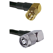 SMA Right Angle Male on LMR-195-UF UltraFlex to TNC Reverse Polarity Right Angle Male Coaxial Cable