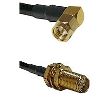 SMA Right Angle Male on LMR-195-UF UltraFlex to SMA Reverse Polarity Female Bulkhead Coaxial Cable A