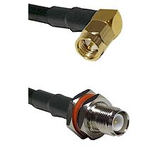 SMA Right Angle Male On LMR-195-UF UltraFlex to TNC Reverse Polarity Female Bulkhead Coaxial Cable A