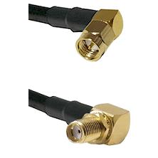 SMA Right Angle Male On LMR-195-UF UltraFlex to SMA Reverse Thread Right Angle Female Bulkhead Coaxi