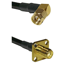 SMA Right Angle Male On LMR-195-UF UltraFlex to SMA 4 Hole Female Cable Assembly