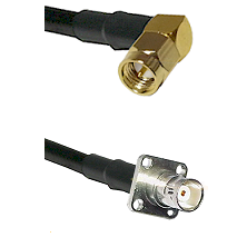 SMA Right Angle Male on LMR200 UltraFlex to BNC 4 Hole Female Cable Assembly