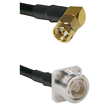 SMA Right Angle Male Connector On LMR-240UF UltraFlex To 7/16 4 Hole Female Connector Coaxial Cable