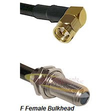 SMA Right Angle Male Connector On LMR-240UF UltraFlex To F Female Bulkhead Connector Coaxial Cable A