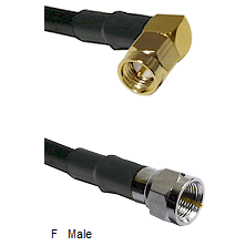 SMA Right Angle Male Connector On LMR-240UF UltraFlex To F Male Connector Cable Assembly