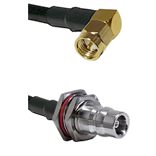SMA Right Angle Male Connector On LMR-240UF UltraFlex To QN Female Bulkhead Connector Coaxial Cable