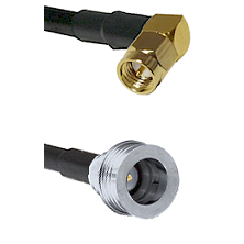 SMA Right Angle Male Connector On LMR-240UF UltraFlex To QN Male Connector Cable Assembly