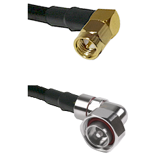 SMA Right Angle Male on LMR240 Ultra Flex to 7/16 Din Right Angle Male Cable Assembly
