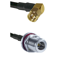 SMA Right Angle Male on LMR240 Ultra Flex to N Reverse Polarity Female Bulkhead Coaxial Cable Assemb