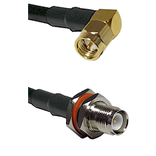 SMA Right Angle Male Connector On LMR-240UF UltraFlex To TNC Reverse Polarity Female Bulkhead Connec