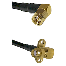 SMA Right Angle Male on LMR240 Ultra Flex to SMA 2 Hole Right Angle Female Cable Assembly
