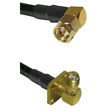 SMA Right Angle Male on LMR240 Ultra Flex to SMA 4 Hole Right Angle Female Cable Assembly