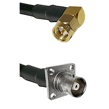 SMA Right Angle Male on RG142 to C 4 Hole Female Cable Assembly