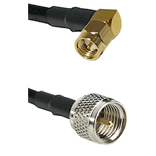 SMA Right Angle Male on RG142 to Mini-UHF Male Cable Assembly