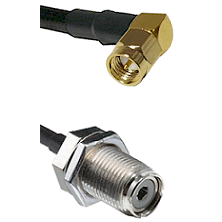 Right Angle SMA Male on RG142 to UHF Female Bulk Head Connectors Cable Assembly