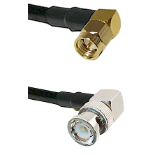 SMA Right Angle Male on RG214 to BNC Right Angle Male Cable Assembly