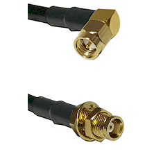 SMA Right Angle Male on RG58C/U to MCX Female Bulkhead Cable Assembly