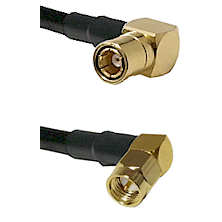 SMB Right Angle Female on Belden 83242 RG142 to SMA Right Angle Male Cable Assembly