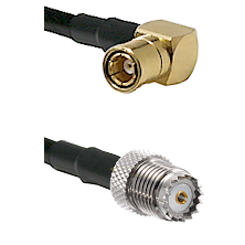 SMB Right Angle Female on LMR100 to Mini-UHF Female Cable Assembly