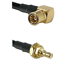 SMB Right Angle Female on LMR100 to SSMB Male Bulkhead Cable Assembly
