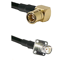 SMB Right Angle Female on LMR-195-UF UltraFlex to BNC 4 Hole Female Cable Assembly