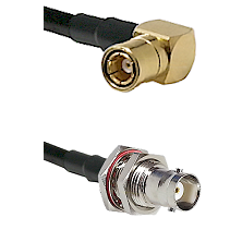 SMB Right Angle Female on LMR-195-UF UltraFlex to BNC Female Bulkhead Cable Assembly