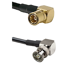 SMB Right Angle Female on LMR-195-UF UltraFlex to BNC Reverse Polarity Right Angle Male Coaxial Cabl