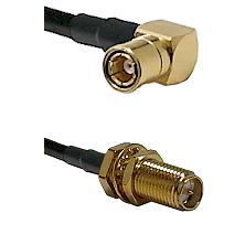 SMB Right Angle Female on LMR-195-UF UltraFlex to SMA Reverse Polarity Female Bulkhead Coaxial Cable