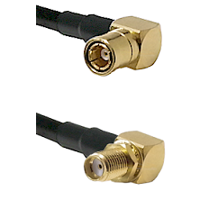 SMB Right Angle Female on LMR-195-UF UltraFlex to SMA Right Angle Female Bulkhead Coaxial Cable Asse