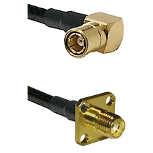 SMB Right Angle Female on LMR-195-UF UltraFlex to SMA 4 Hole Female Cable Assembly