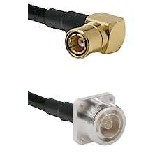 SMB Right Angle Female on LMR200 UltraFlex to 7/16 4 Hole Female Cable Assembly